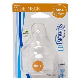 Набор силиконовых сосок Dr Brown's для бутылочек с широким горлышком (от 6 месяцев, 2 шт.) 3-ий уровень