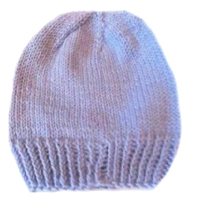 Шапочка вязаная голубая, 100% мериносовая шерсть,  на рост 38 см, 42 см, 46 см