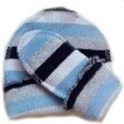 Комплект для мальчика голубой  из кашкорсе шапочка и пинетки, рост  38 см, 42 см, 46 см