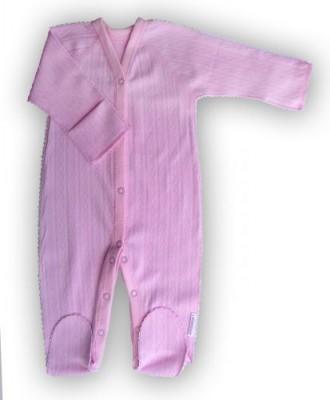 """Комбинезон """"Ажур"""" Розовый из интерлока,  шов мережка,  на рост 46 см, 50 см"""
