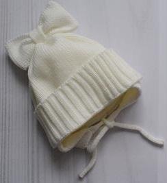 Шапочка вязаная на подкладке для маловесной малышки, на рост 46 см, цвет экрю