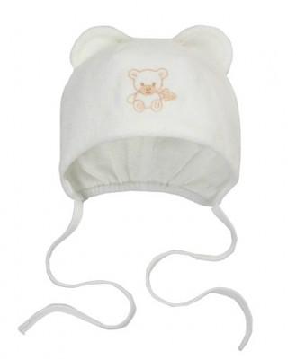 Шапочка велюровая  Мишутка  белая на подкладке, на рост 50 см