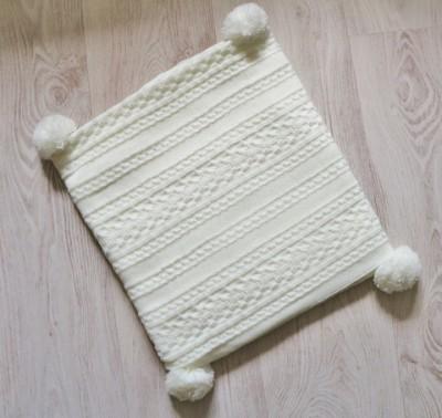 Плед вязаный, молочный,  размер 100х100 см