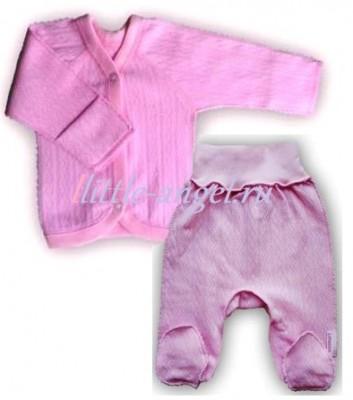 """Комплект """"Ажур"""" Розовый из интерлока: распашонка и штанишки со следом,  на рост 46 см, 50 см"""